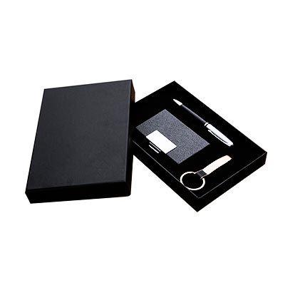 promoaxis - Kit de escritório contendo caneta, porta cartão e chaveiro, acompanha caixa para acomodação dos itens.