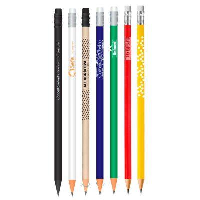 promoaxis - Lápis colorido de madeira de reflorestamento com borracha.