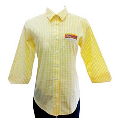 Stantex Soluções Têxteis - Camiseta xadrez com gravação personalizada.