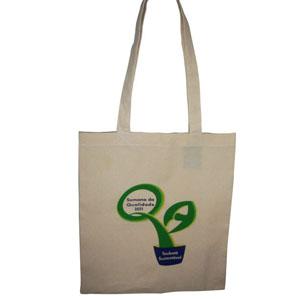 Eco bag de algodão cru com gravação personalizada.
