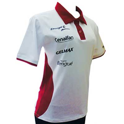 stantex-solucoes-texteis - Camisa polo feminina em algodão com detalhes na gola e gravação personalizada.