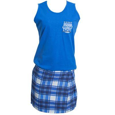 stantex-solucoes-texteis - Camiseta regata em malha com impressão em dark e saia em brim.