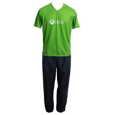stantex-solucoes-texteis - Camiseta gola V em malha PV com silk e calça em Tactel.