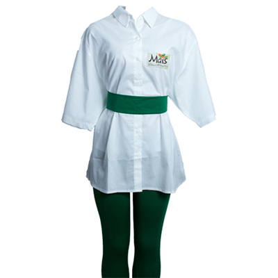 stantex-solucoes-texteis - Camisa social em tricoline com impressão em dark, faixa e legging em suplex.