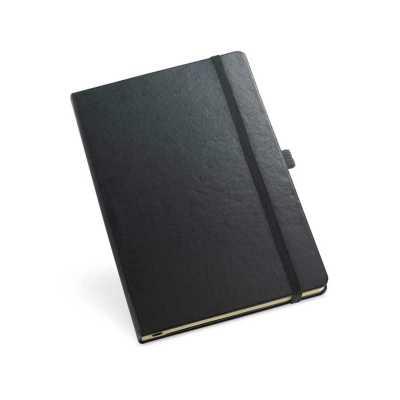 Pratic Brindes - Bloco de Anotações / Caderno capa dura. Com porta esferográfica, bolso interior e 80 folhas pautadas cor marfim. 137 x 210 mm - Personalizado em Serig...
