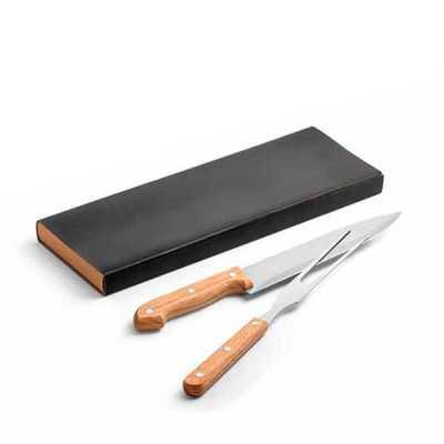 pratic-brindes - Kit churrasco. Aço inox e bambu. 2 peças em caixa kraft. Caixa: 340 x 115 x 25 mm. personalizado a Laser
