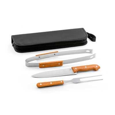 pratic-brindes - Kit churrasco. Aço inox e madeira. 3 peças em estojo de 210D. Food grade. Estojo: 350 x 130 x 20 mm. Personalizado a laser