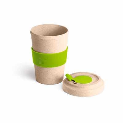 Copo para viagem. Fibra de bambu e PP. Com banda de silicone e tampa. Capacidade até 500 ml. Personalizado em Serigrafia. - Pratic Brindes