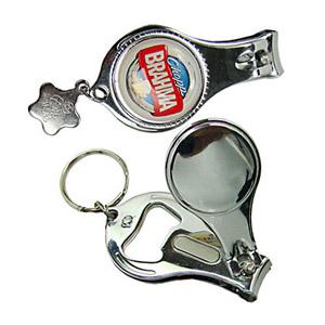 Chaveiro de metal, 3 em 1 sendo. Funções: Abridor, Cortador de Unha e Mini Lixa - Pratic Brindes