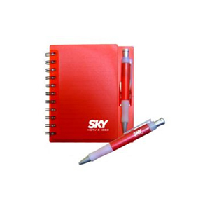 pratic-brindes - Bloco de anotações com capa de plástico resistente e caneta esferográfica. Obs.: embalagem saquinho plástico