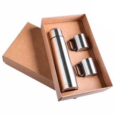 Kit Garrafa térmica em inox de 1 litro e 2 canecas de inox com Tampa de 180 ml, ambos personaliza...