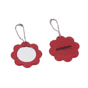 mgm-brindes - Chaveiro personalizado com o formato de flor e espelho embutido.