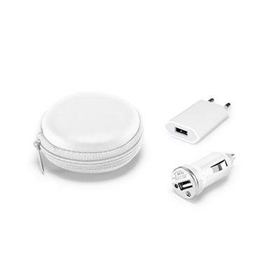 Pombo Lediberg - Kit carregadores USB ABS branco