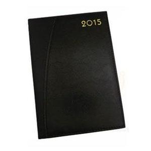 gtx-brindes - Agenda 2015 com capa de couro sintético preta, 336 páginas, medida 141mm x 205mm