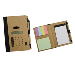 Bloco de anotações e caneta ecológicos, calculadora solar e stick-notes colorido, com aproximadamente 55 folhas