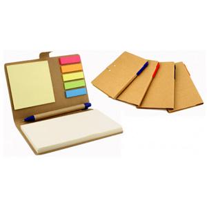 Bloco de anotações ecológico com caneta, sticky notes coloridos.