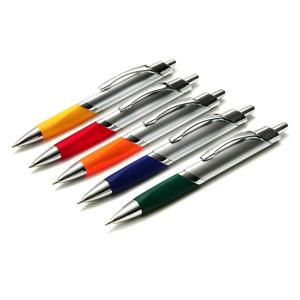 gtx-brindes - Caneta de plástico nas cores laranja, azul, vermelho, verde e preto.