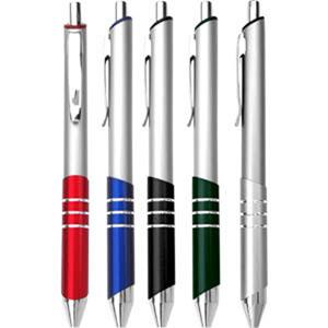 gtx-brindes - Caneta de metal com detalhes em azul, verde, vermelho, preto e prata.