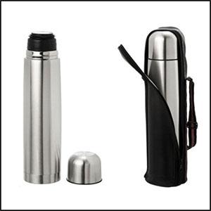 gtx-brindes - Garrafa térmica em alumínio, capacidade para 500 ml. Obs.: Acompanha capa de couro sintético.
