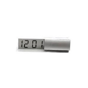 GTX Brindes - Relógio digital de mesa em LCD, na cor prata.