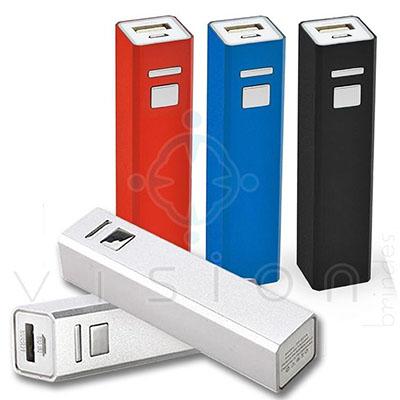 Vision Brindes - Carregador Powerbank para celular portátil em alumínio. Capacidade 2600 mAh - Bateria recarregável. Medida 9,5 x 2,2 x 2,1 cm