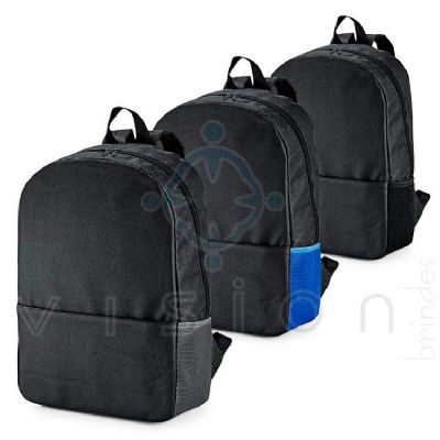 Mochila para notebook em poliester 600D.  Compartimento para notebook 15.6.  Possui bolso lateral em mesh (redinha) e bolso frontal. Parte posterior a...