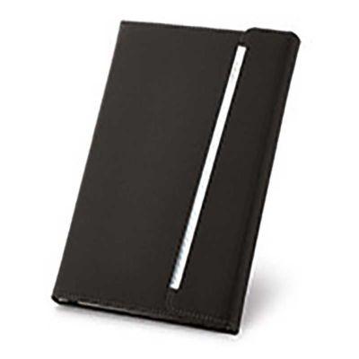 Caderno capa dura com porta caneta.
