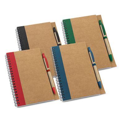 click-promocional - Caderno com folhas não pautadas de papel reciclado.