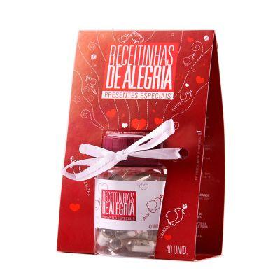 receitinhas-de-alegria - Pote com embalagem personalizada e 40 mensagens com teor romântico.