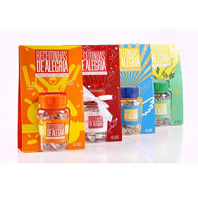 Receitinhas de Alegria - Receitinhas de Alegria: um presente especial para pessoas especiais.  Dentro de embalagens temáticas personalizadas, você encontra mensagens motivacio...