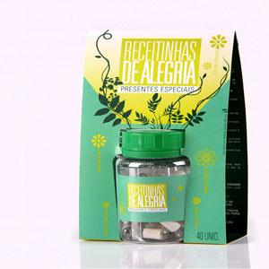 receitinhas-de-alegria - Pote com 40 mensagens sobre preservação da natureza, sustentabilidade e reciclagem.