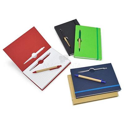 Maggenta  Produtos Promocionais - Bloco de anotações. capa dura em 5 cores, folhas pautadas e elástico. Acompanha caneta nas cores Verde, Azul, Vermelho, Preto e Amarelo. Gravação em S...