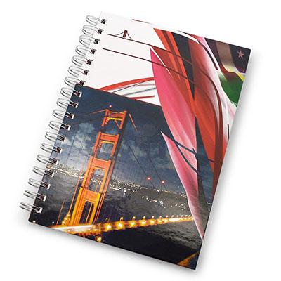maggenta-produtos-promocionais - Caderno folha para dados pessoais, calendário, planejamento, marca d'agua nas folhas e capa dura, tamanhos variados