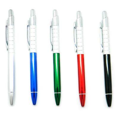Maggenta  Produtos Promocionais - Produzida em matal com detalhes prata brilhante, possui acionamento por click. Consultar cores.