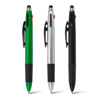 Maggenta  Produtos Promocionais - Caneta Plástica com 3 cores (Azul, vermelha e preta), possui aboncamento emborrachado com ponteira touch.