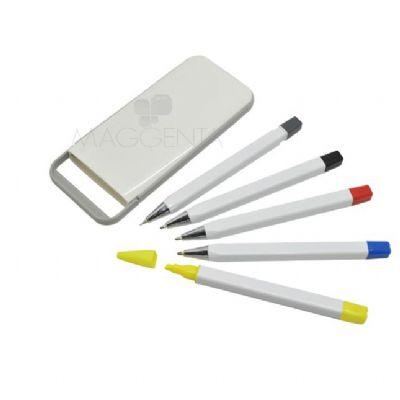 maggenta-produtos-promocionais - 3 canetas esferográfica marca texto e lapiseira