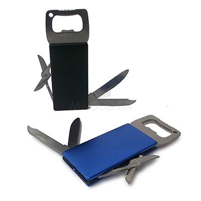 maggenta-produtos-promocionais - Abridor de metal 5 funções. 1 Abridor de latas * 1 Mini tesoura * 1 Lâmina 'faca' * 1 Lima * 1 Desencapador de fio