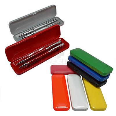 maggenta-produtos-promocionais - Caneta esferográfica e lapiseira com estojo de plástico.