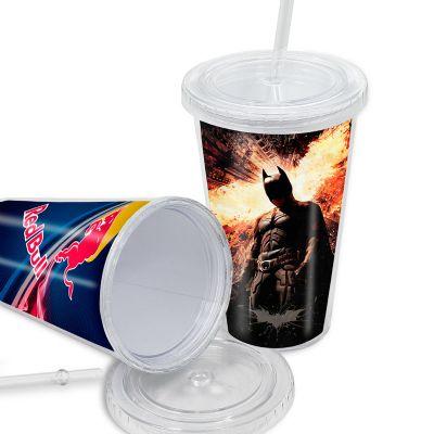 Maggenta  Produtos Promocionais - Copo personalizado com tampa e canudo, 450 ml.