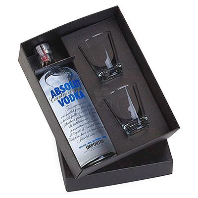 maggenta-produtos-promocionais - Kit bebida. Acompanha 1 Vodka Absolut de 1 litro e 2 copos de dose, capacidade para 216ml
