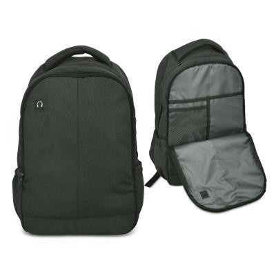 - Mochila para notebook em nylon sintético com textura personalizada. Possui compartimento frontal com bolso para objetos pessoais em geral e 1 bolso em...