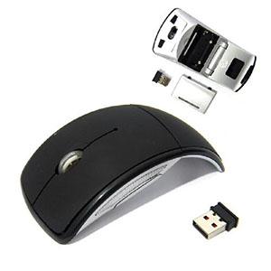 maggenta-produtos-promocionais - Mouse Sem Fio Arco Wireless tecnologia wireless 2.4GH, nano receptor conexão USB, dobrável e prático de carregar, alcance de 10m, possui armazenamento...