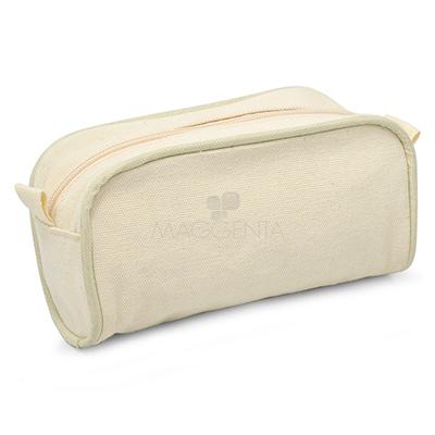 maggenta-produtos-promocionais - Nécessaire em algodão cru. Possui bolso com zíper, ideal para acomodar seus itens de higiene