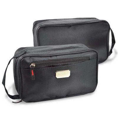 maggenta-produtos-promocionais - Necessaire personalizada com espaços internos e zíper.