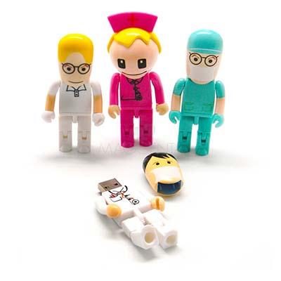 maggenta-produtos-promocionais - Pen drive personalizado em forma de boneco médico e enfermeiro(a) em diversas cores