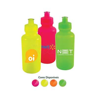 maggenta-produtos-promocionais - Squeeze neon personalizado com tampa rosqueável em plástico resistente. Capacidade 550 ml.