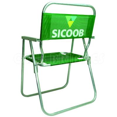 club-brindes - Cadeira de praia alta feita em alumínio.