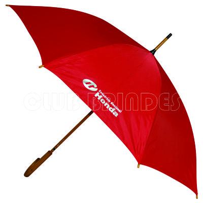 Club Brindes - Guarda chuva com cabo de madeira