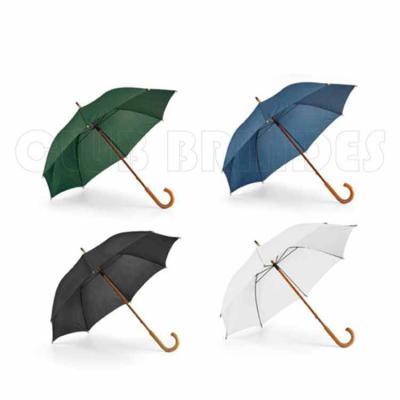 Guarda chuva. Poliéster 190T. Haste e pega em madeira. Disponível em várias cores. Gravação da lo...