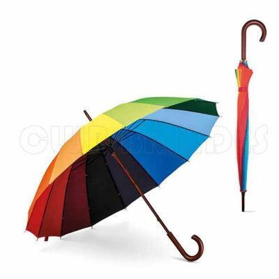 Guarda-chuva. 190T pongee. Pega em madeira. Gravação da logomarca em 1 cor aplicada em 2 gomos já...